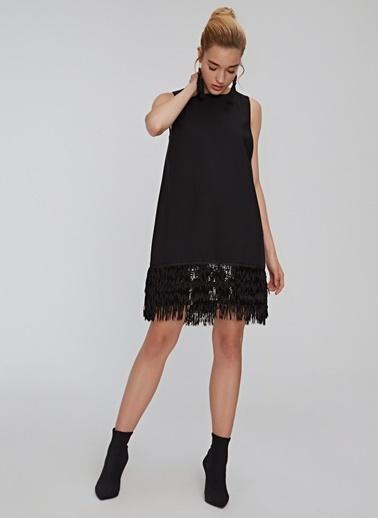 People By Fabrika Püskül Detaylı Abiye Elbise Siyah